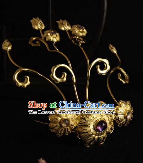 Chinese Ancient Tang Dynasty Golden Hair Claw Hairpins Traditional Hanfu Hair Accessories for Women
