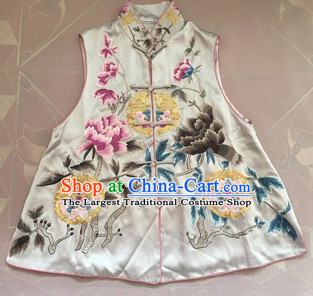 Chinese Traditional Tang Suit Embroidered Peony Vest National Costume White Waistcoat for Women