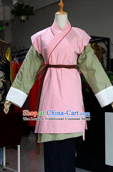 Chinese Ancient Drama Village Girl Costumes Traditional Song Dynasty Maidservants Dress for Women