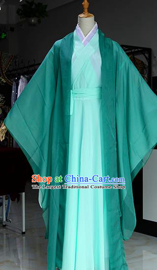Chinese Ancient Drama Swordswoman Green Costumes Traditional Song Dynasty Madam White Snake Dress for Women