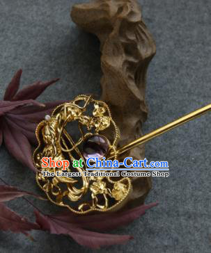 Chinese Ancient Ming Dynasty Queen Amethyst Hairpins Golden Hair Clip Traditional Hanfu Hair Accessories for Women