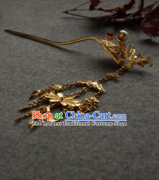 Chinese Ancient Ming Dynasty Queen Tassel Hairpins Golden Hair Clip Traditional Hanfu Hair Accessories for Women