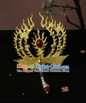 Chinese Ancient Ming Dynasty Queen Hairpins Golden Phoenix Hair Clip Traditional Hanfu Hair Accessories for Women