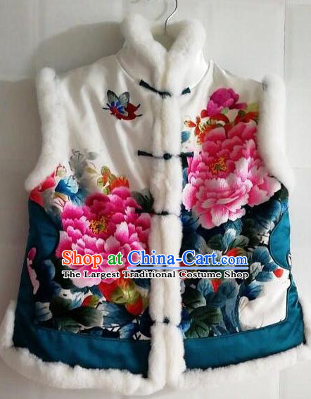 Chinese Traditional Tang Suit Embroidered Peony White Vest National Costume Qipao Shirt for Women