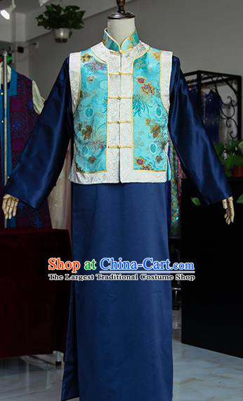 Chinese Ancient Drama Royal Highness Navy Costumes Traditional Qing Dynasty Prince Clothing for Men