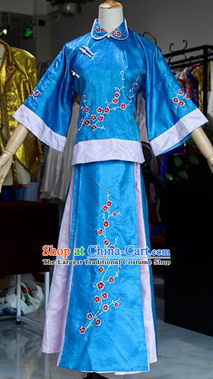 Chinese Ancient Drama Court Lady Blue Costumes Traditional Qing Dynasty Young Mistress Dress for Women