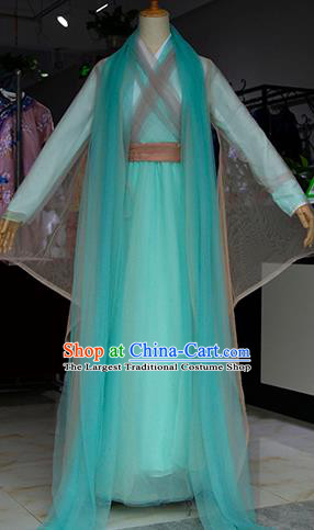 Chinese Ancient Drama Female Swordsman Costumes Traditional Peri Green Dress for Women