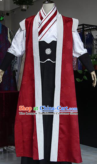 Chinese Ancient Drama Young Hero Costumes Traditional Han Dynasty Swordsman Clothing for Men