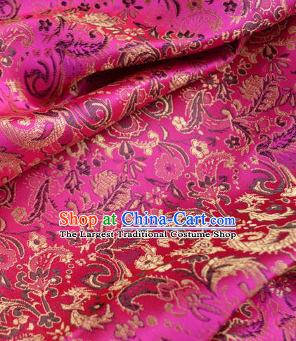 Traditional Chinese Royal Pattern Design Rosy Brocade Silk Fabric Asian Satin Material