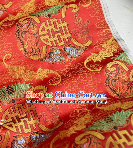 Traditional Chinese Royal Pattern Design Red Brocade Silk Fabric Asian Satin Material