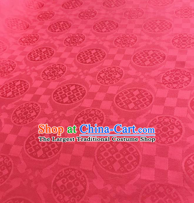 Traditional Chinese Royal Round Pattern Design Rosy Brocade Silk Fabric Asian Satin Material