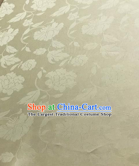 Traditional Chinese Royal Peony Pattern Design Light Yellow Brocade Silk Fabric Asian Satin Material