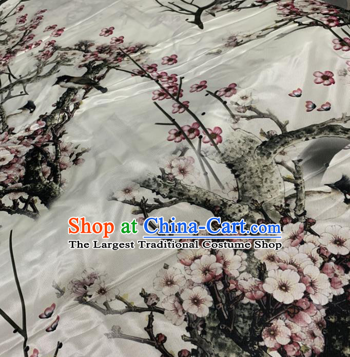 Traditional Chinese Royal Plum Pattern Design White Brocade Silk Fabric Asian Satin Material