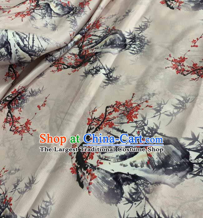 Traditional Chinese Royal Bamboo Plum Pattern Design White Brocade Silk Fabric Asian Satin Material