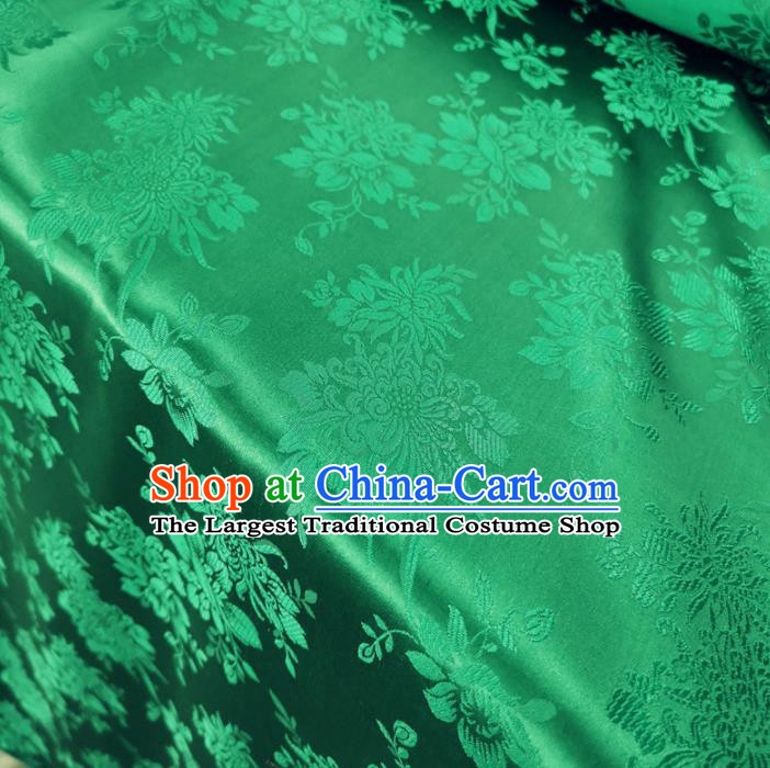 Traditional Chinese Royal Chrysanthemum Peony Pattern Design Green Brocade Silk Fabric Asian Satin Material