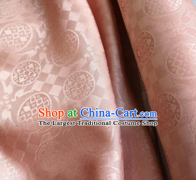 Traditional Chinese Royal Pattern Design Pink Brocade Silk Fabric Asian Satin Material