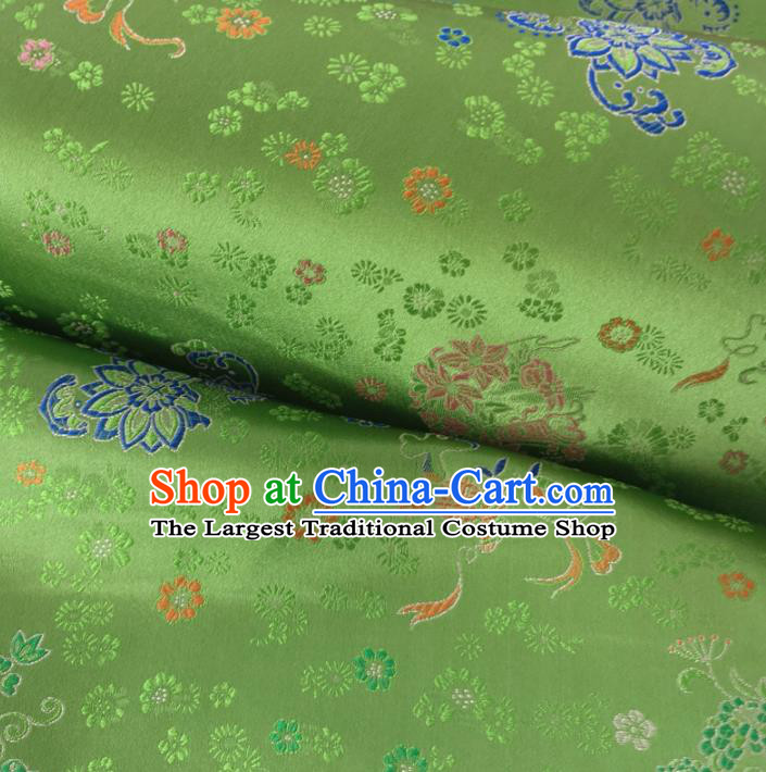 Traditional Chinese Royal Lotus Pattern Design Green Brocade Silk Fabric Asian Satin Material