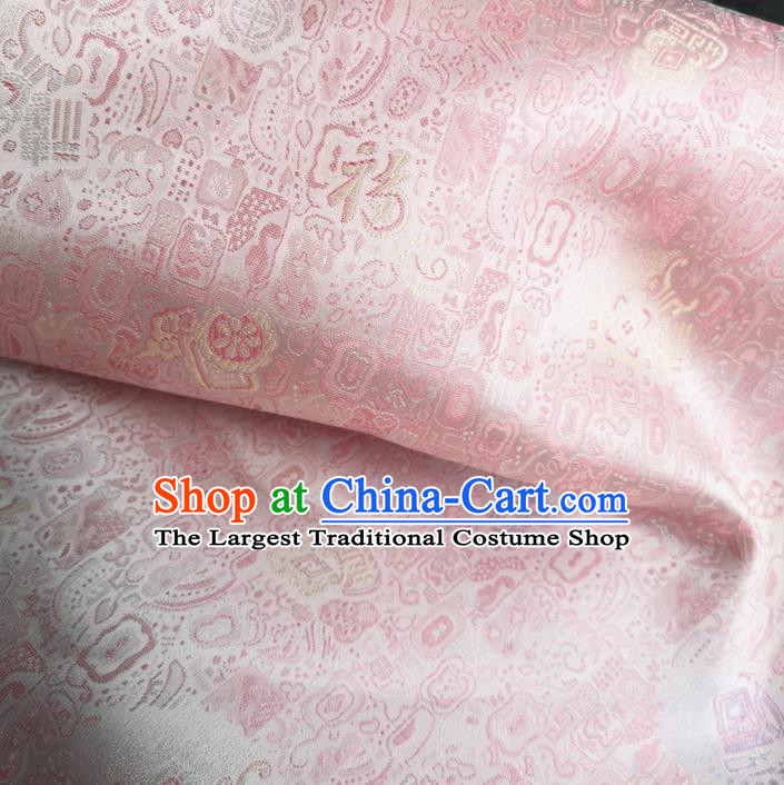 Traditional Chinese Royal Lucky Character Pattern Design Pink Brocade Silk Fabric Asian Satin Material