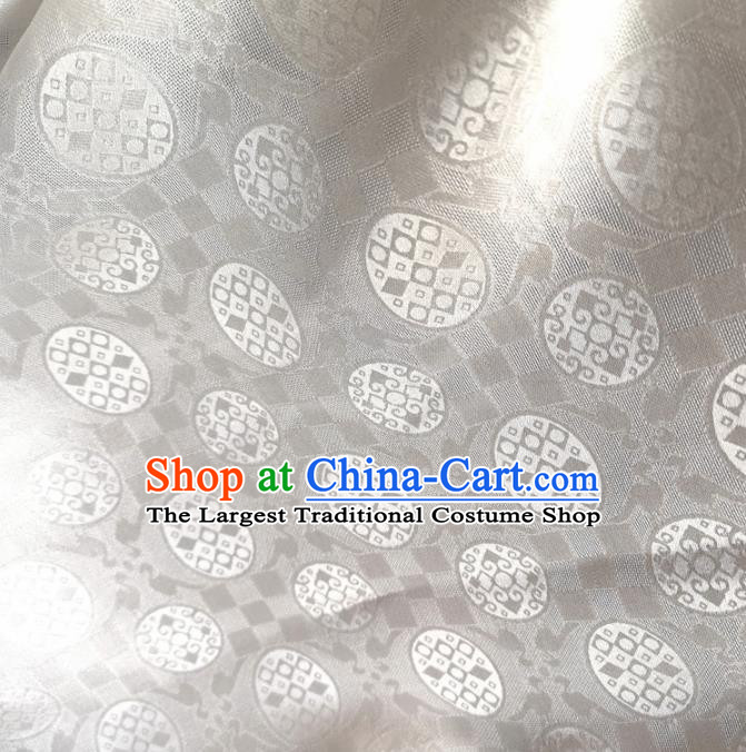 Traditional Chinese Royal Round Pattern Design White Brocade Silk Fabric Asian Satin Material