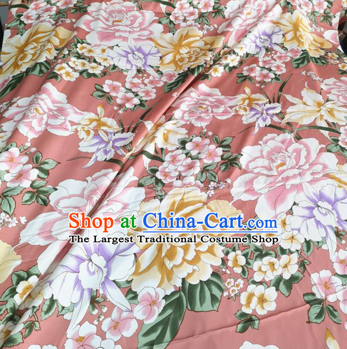 Traditional Chinese Royal Peony Pattern Design Pink Brocade Silk Fabric Asian Satin Material