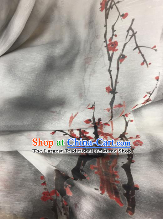 Chinese Traditional Ink Painting Plum Pattern Design Silk Fabric Brocade Asian Satin Material