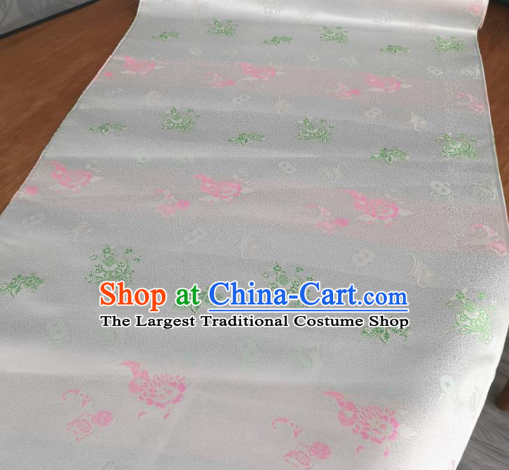 Traditional Chinese Royal Lucky Pattern Design White Brocade Silk Fabric Asian Satin Material