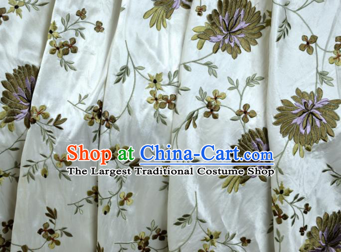 Chinese Traditional Embroidered Chrysanthemum Pattern Design White Silk Fabric Brocade Asian Satin Material