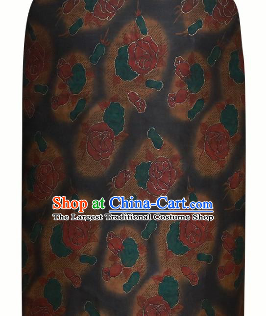 Chinese Traditional Red Roses Pattern Design Satin Brocade Fabric Asian Silk Material
