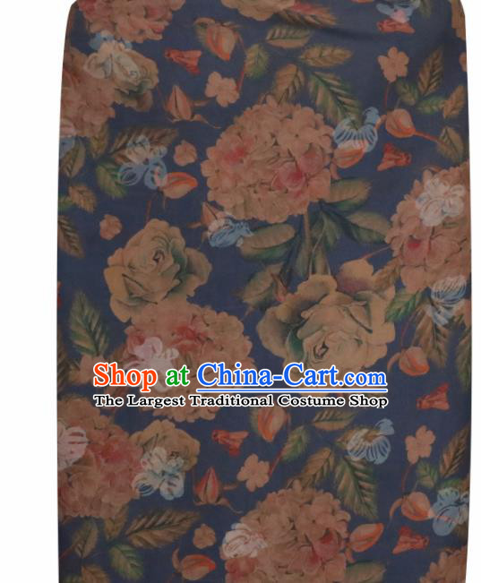 Chinese Traditional Roses Pattern Design Blue Satin Brocade Fabric Asian Silk Material