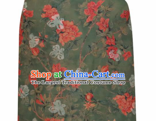Chinese Traditional Pomegranate Flowers Pattern Design Olive Green Satin Brocade Fabric Asian Silk Material