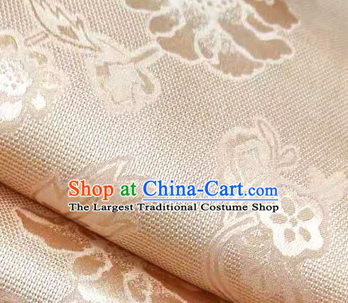 Chinese Traditional Peony Pattern Design Light Pink Satin Brocade Fabric Asian Silk Material
