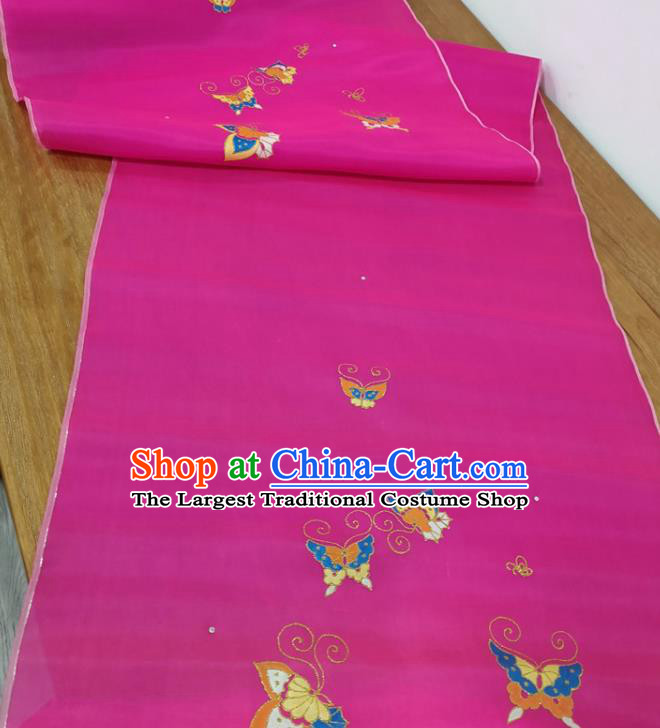 Traditional Chinese Royal Butterfly Pattern Design Rosy Silk Fabric Brocade Asian Satin Material