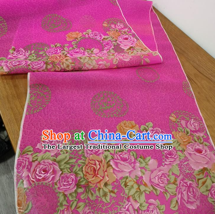 Traditional Chinese Royal Roses Pattern Design Rosy Silk Fabric Brocade Asian Satin Material