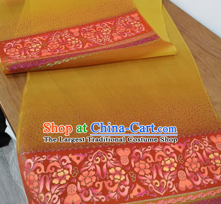 Traditional Chinese Royal Lotus Pattern Design Yellow Silk Fabric Brocade Asian Satin Material