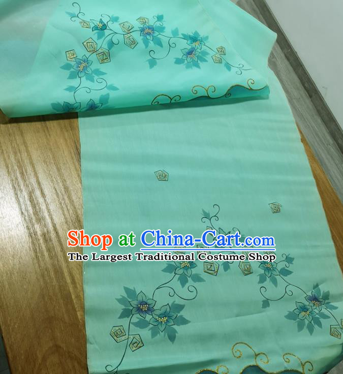 Traditional Chinese Royal Orchid Pattern Design Green Silk Fabric Brocade Asian Satin Material