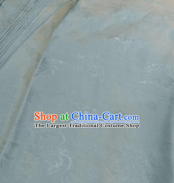 Traditional Chinese Royal Pattern Design Light Blue Brocade Silk Fabric Asian Satin Material