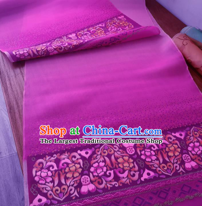 Chinese Traditional Lotus Pattern Design Purple Silk Fabric Brocade Asian Satin Material