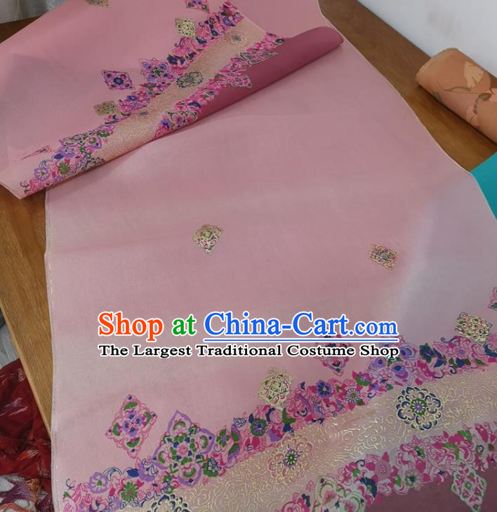 Chinese Traditional Pattern Design Pink Silk Fabric Brocade Asian Satin Material