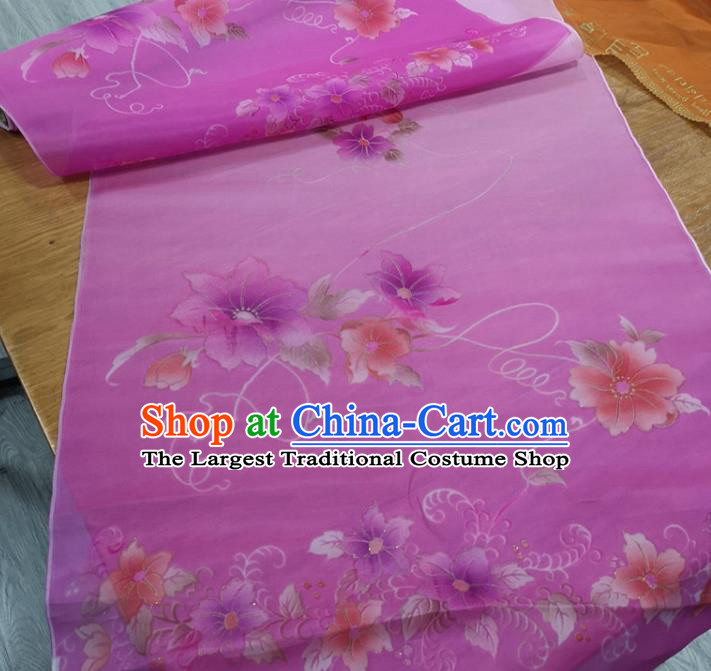 Chinese Traditional Flowers Pattern Design Lilac Silk Fabric Brocade Asian Satin Material