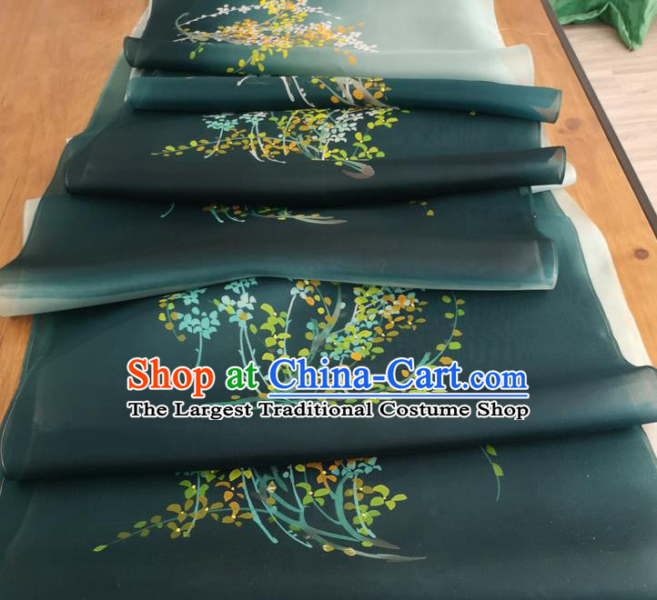 Chinese Traditional Pattern Design Atrovirens Silk Fabric Brocade Asian Satin Material
