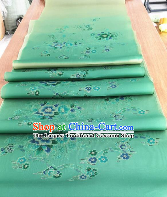 Chinese Traditional Pattern Design Green Silk Fabric Brocade Asian Satin Material