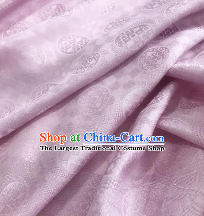 Traditional Chinese Royal Round Pattern Design Pink Brocade Silk Fabric Asian Satin Material