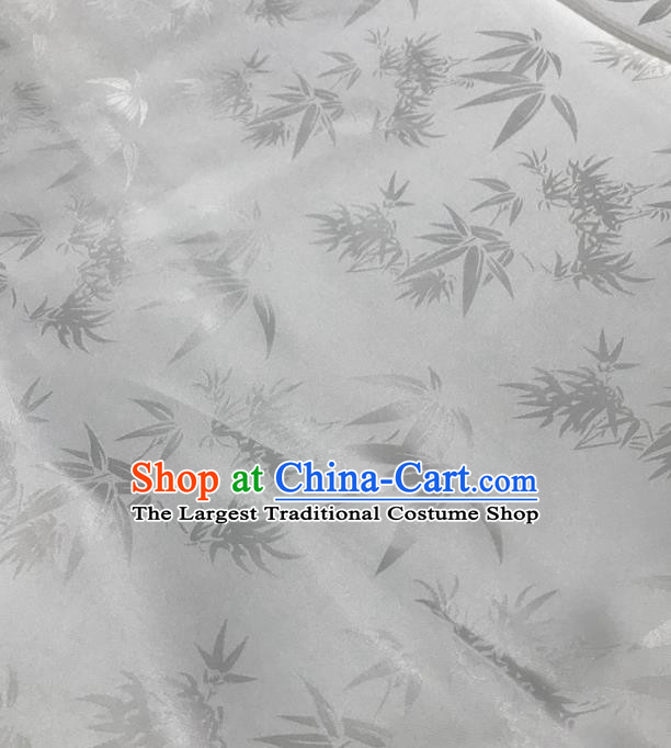 Traditional Chinese Royal Bamboo Leaf Pattern Design White Brocade Silk Fabric Asian Satin Material
