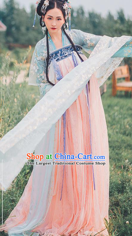 Traditional Chinese Tang Dynasty Palace Hanfu Dress Ancient Court Princess Replica Costumes for Women