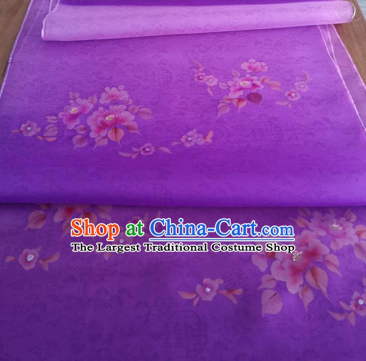 Chinese Traditional Plum Blossom Pattern Design Purple Silk Fabric Brocade Asian Satin Material