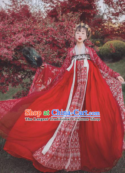 Traditional Chinese Tang Dynasty Wedding Red Hanfu Dress Ancient Bride Replica Costumes for Women