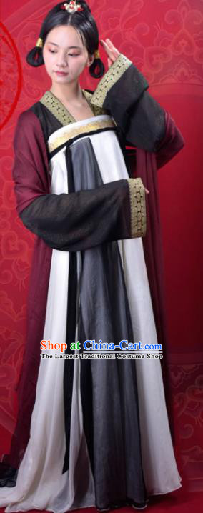 Chinese Traditional Tang Dynasty Court Maid Replica Costumes Ancient Palace Lady Hanfu Dress for Women