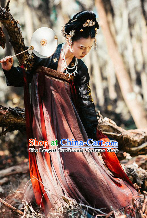 Chinese Traditional Tang Dynasty Imperial Consort Replica Costumes Ancient Peri Goddess Hanfu Dress for Women