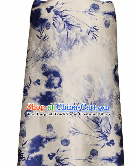 Chinese Traditional Lotus Pattern Design Wedding White Satin Brocade Fabric Asian Silk Material