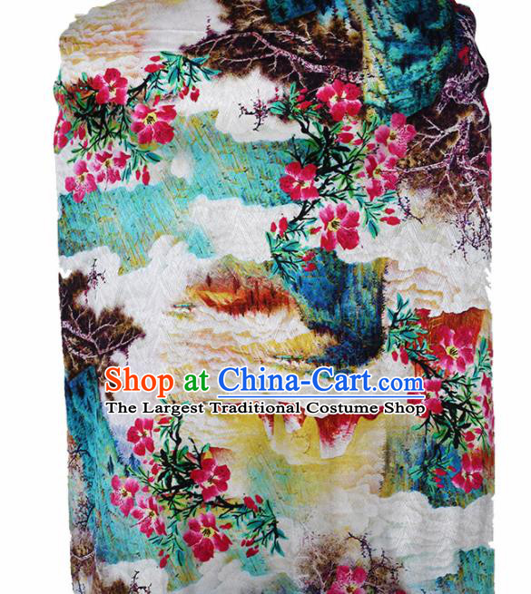 Chinese Traditional Peach Blossom Pattern Design Cheongsam Satin Brocade Fabric Asian Silk Material